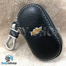 Ключница карманная (кожаная, черная, на молнии, с карабином, с кольцом), логотип авто Chevrolet (Шевроле)