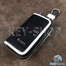 Эксклюзивная ключница карманная (кожаная, черная, на молнии, с карабином, с кольцом)
