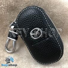 Ключница карманная (кожаная, черная, на молнии, с карабином, с кольцом), логотип авто Mazda (Мазда)