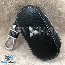 Ключница карманная (кожаная, черная, на молнии, с карабином, с кольцом), логотип авто Mitsubishi (Митсубиси)
