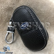 Ключница карманная (кожаная, черный, на молнии, с карабином, с кольцом), логотип авто Subaru (Субару)