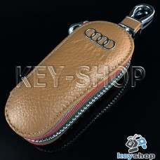 Ключница карманная (кожаная, светло - коричневая, на молнии, с карабином, с кольцом), логотип авто Audi (Ауди)