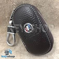 Ключница карманная (кожаная, коричневая, на молнии, с карабином, с кольцом) логотип авто Chevrolet Buick (Шевроле Бьюик)
