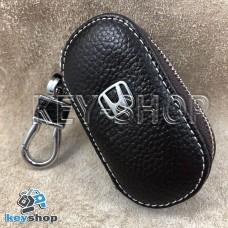 Ключница карманная (кожаная, коричневая, на молнии, с карабином, с кольцом), логотип авто Honda (Хонда)