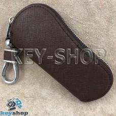 Эксклюзивная ключница карманная (кожаная, коричневая, на молнии, с карабином, с кольцом)