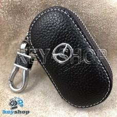 Ключница карманная (кожаная, коричневая, на молнии, с карабином, с кольцом), логотип авто Mazda (Мазда)