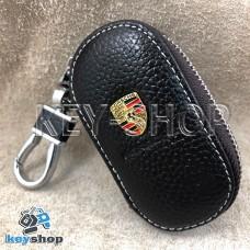 Ключница карманная (кожаная, коричневая, на молнии, с карабином, с кольцом), логотип авто Porsche (Порше)