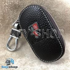 Ключница карманная (кожаная, коричневая, на молнии, с карабином, с кольцом), логотип авто Roeve (Роеве)