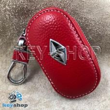 Ключница карманная (кожаная, красная, на молнии, с карабином, с кольцом), логотип авто Borgward (Боргвард)