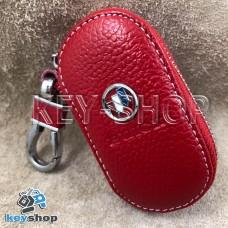 Ключница карманная (кожаная, красная, на молнии, с карабином, с кольцом) логотип авто Chevrolet Buick (Шевроле Бьюик)
