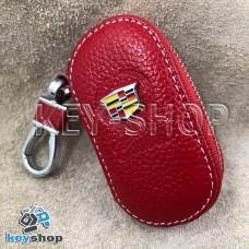 Ключница карманная (кожаная, красная, на молнии, с карабином, с кольцом), логотип авто Cadillac (Кадилак)