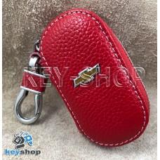 Ключница карманная (кожаная, красная, на молнии, с карабином, с кольцом), логотип авто Chevrolet (Шевроле)
