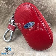 Ключница карманная (кожаная, красная, на молнии, с карабином, с кольцом), логотип авто Ford (Форд)