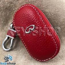 Ключница карманная (кожаная, красная, на молнии, с карабином, с кольцом), логотип авто Infiniti (Инфинити)