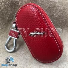 Ключница карманная (кожаная, красная, на молнии, с карабином, с кольцом), логотип авто Jaguar (Ягуар)