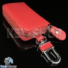 Эксклюзивная ключница карманная (кожаная, красная, на молнии, с карабином, с кольцом)