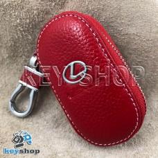 Ключница карманная (кожаная, красная, на молнии, с карабином, с кольцом), логотип авто Lexus (Лексус)
