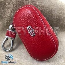 Ключница карманная (кожаная, красная, на молнии, с карабином, с кольцом), логотип авто Lincoln (Линкольн)