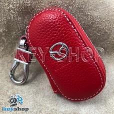 Ключница карманная (кожаная, красная, на молнии, с карабином, с кольцом), логотип авто Mazda (Мазда)
