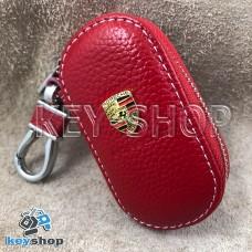 Ключница карманная (кожаная, красная, на молнии, с карабином, с кольцом), логотип авто Porsche (Порше)
