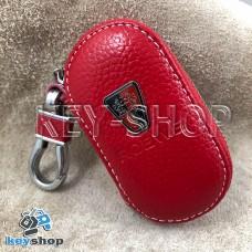 Ключница карманная (кожаная, красная, на молнии, с карабином, с кольцом), логотип авто Roeve (Роеве)