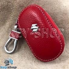 Ключница карманная (кожаная, красная, на молнии, с карабином, с кольцом), логотип авто Suzuki (Сузуки)