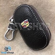 Ключница карманная (кожаная, коричневая, на молнии, с карабином, с кольцом), логотип авто Cadillac (Кадилак)