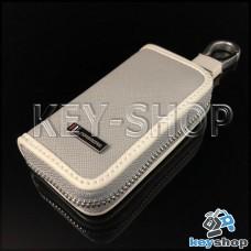 Эксклюзивная ключница карманная (кожаная, серая, на молнии, с карабином, с кольцом)