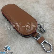 Эксклюзивная ключница карманная (кожаная, светло - коричневая, на молнии, с карабином, с кольцом)