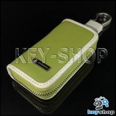 Эксклюзивная ключница карманная (кожаная, зеленая, на молнии, с карабином, с кольцом)