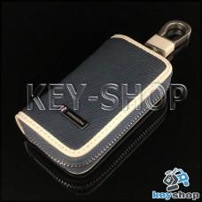 Эксклюзивная ключница карманная (кожаная, синяя, на молнии, с карабином, с кольцом)