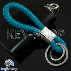 Голубой брелок с кожаным плетёным шнуром и двумя кольцами