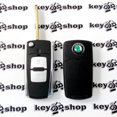 Корпус выкидного автоключа SKODA (шкода) под переделку - 2 кнопки, лезвие HU66