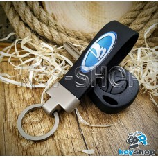 Брелок для авто ключей Lada (Лада) кожаный (черный) с матовым кольцом