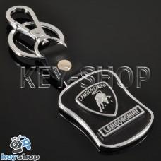 Металлический брелок с кожаными вставками для авто ключей Lamborghini (Ламборджини)