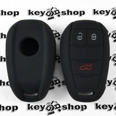 Чехол (черный, силиконовый) для смарт ключа Lancia (Лянча)  3 кнопки