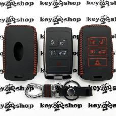 Кожаный чехол (с красной строчкой), для смарт ключа Land Rover (Ленд Ровер) 4 + 1 кнопки