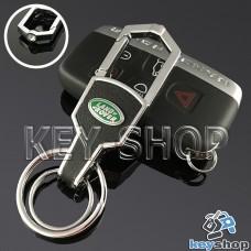 Металлический брелок для авто ключей Ленд Ровер (Land-Rover) с карабином и кожаной вставкой