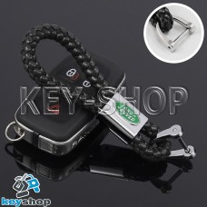 Кожаный плетеный (черный) брелок для авто ключей Ленд Ровер (Land-Rover)