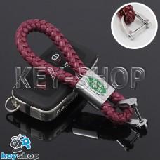 Кожаный плетеный (бордовый) брелок для авто ключей Ленд Ровер (Land-Rover)