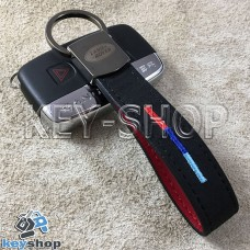 Кожаный замшевый (черный) брелок для авто ключей с логотипом Land Rover (Ленд Ровер) и хромированным карабином