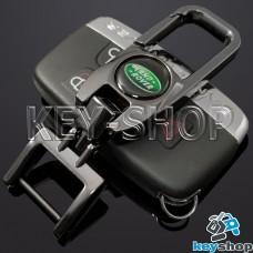 Брелок для ключа Ленд Ровер (Land-Rover), (темный хром), с карабином