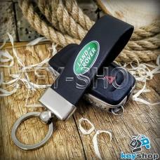Брелок для авто ключей LAND ROVER (Ленд Ровер) Кожаный (черный, широкий) с хромированным кольцом