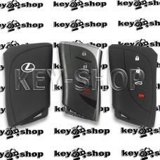 Чехол (силиконовый) для смарт ключа LEXUS (Лексус) 3 + 1 кнопки (черный)
