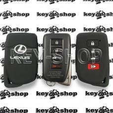 Чехол (силиконовый) смарт ключа LEXUS (Лексус) (черный) 4 кнопки