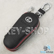 Ключница карманная (кожаная, черная, на молнии, с карабином, с кольцом), логотип авто Lexus (Лексус)