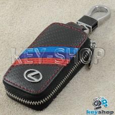 Ключница карманная (кожаная, черная, под карбон, на молнии, с карабином, с кольцом), логотип авто Lexus (Лексус)