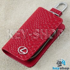 """Ключница карманная (красная, """"змеиная кожа"""", на молнии, с карабином, с кольцом), логотип авто Lexus (Лексус)"""