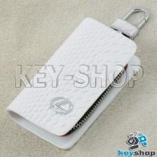 """Ключница карманная (белая, """"змеиная кожа"""", на молнии, с карабином, с кольцом), логотип авто Lexus (Лексус)"""