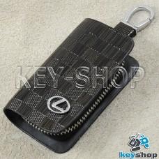 Ключница карманная (кожаная, коричневая, с тиснением, на молнии, с карабином, с кольцом), логотип авто Lexus (Лексус)